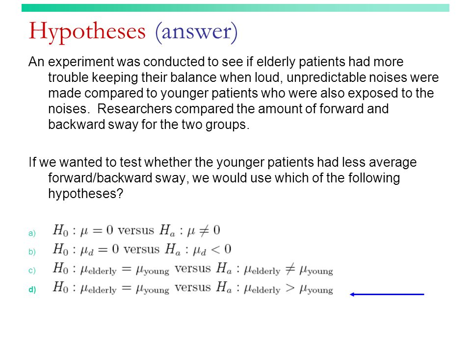 Hypotheses (answer)