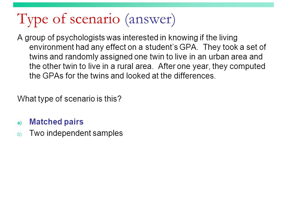 Type of scenario (answer)