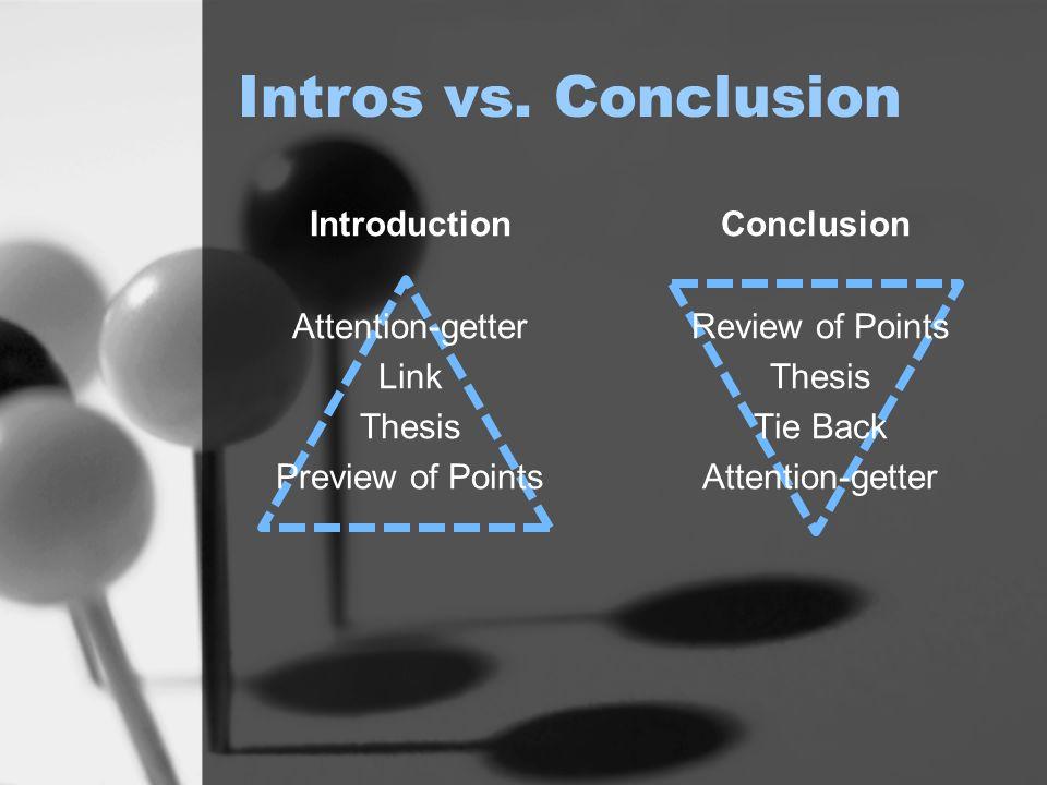 Intros vs. Conclusion Introduction Conclusion