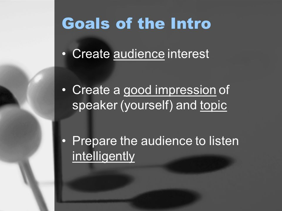 Goals of the Intro Create audience interest
