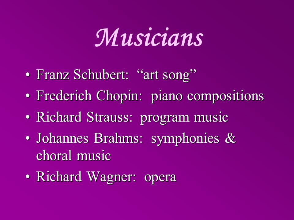 Musicians Franz Schubert: art song