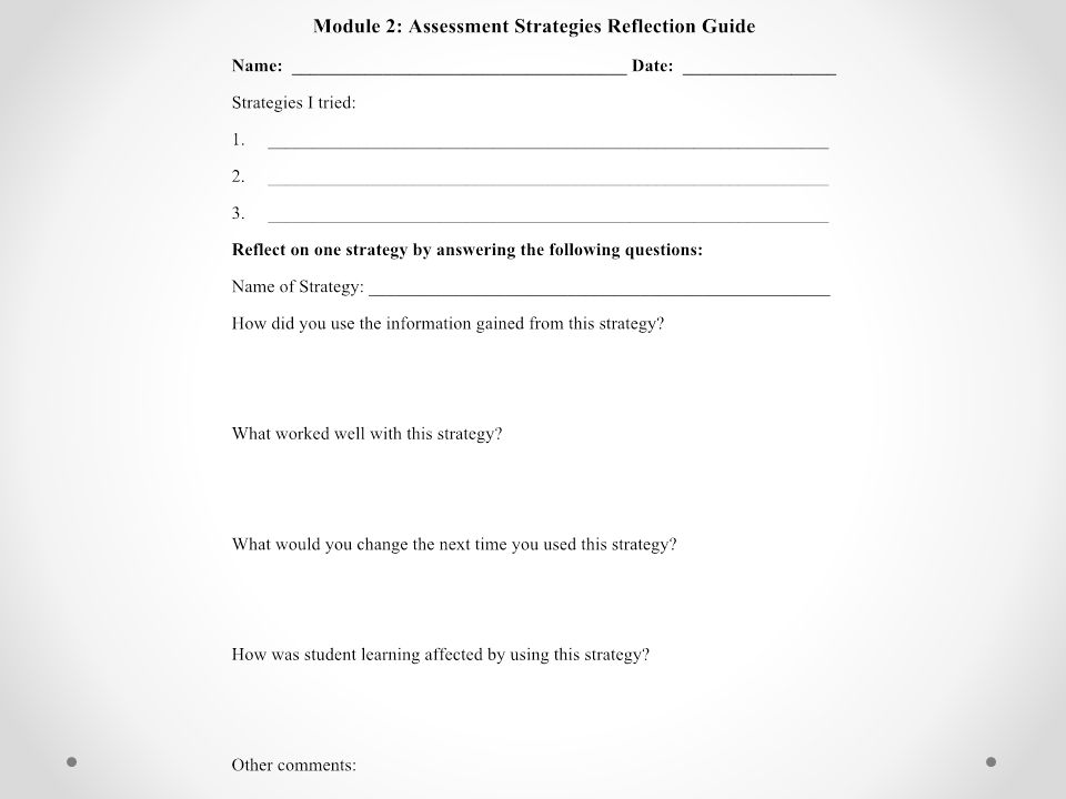 After implementing the three strategies, use the Assessment Strategies Reflection Guide to reflect on one of the strategies you used in your classroom.