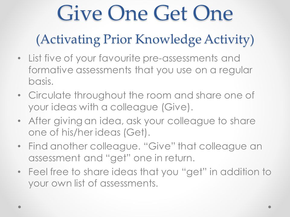 Give One Get One (Activating Prior Knowledge Activity)