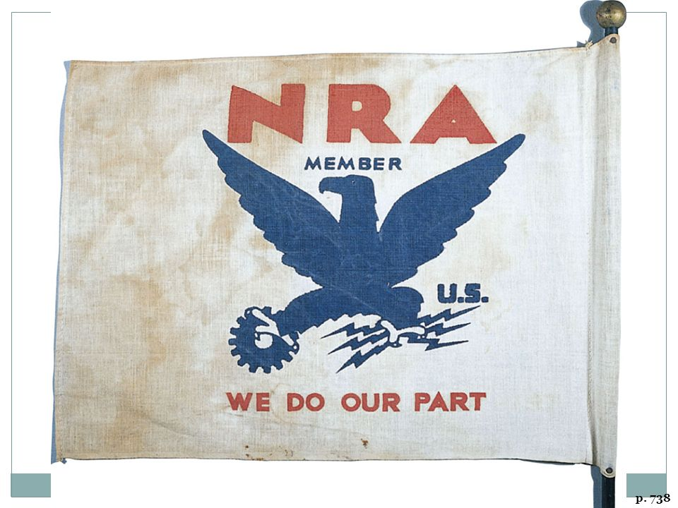 WE DO OUR PART Companies that cooperated with the National Recovery Administration displayed this banner. The NRA, a centerpiece of the early New Deal, soon ran into difficulties.