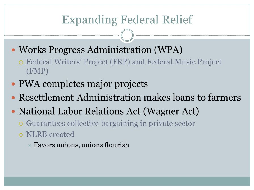 Expanding Federal Relief