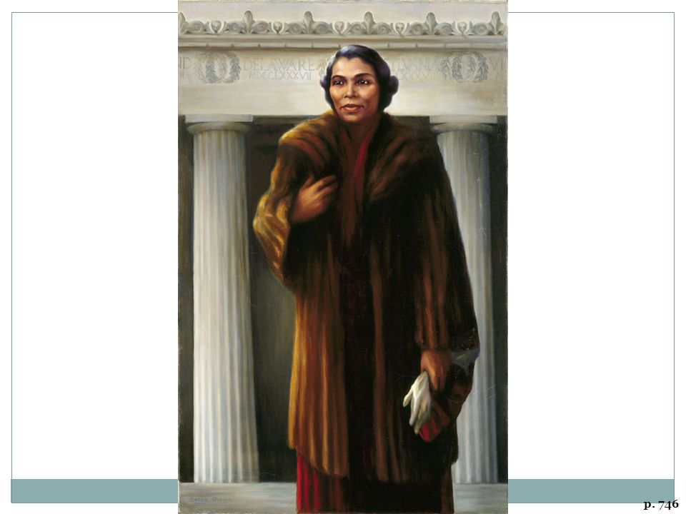 MARIAN ANDERSON AT THE LINCOLN MEMORIAL, PAINTING BY BETSY GRAVES REYNEAU In the 1950s, Reyneau did a series of paintings of notable black Americans for a touring exhibit. This painting portrays Marian Anderson at the Lincoln Memorial on Easter Sunday, 1939, where her concert drew an audience of 75,000 and was broadcast nationally. Eleanor Roosevelt and Harold Ickes arranged the event after the Daughters of the American Revolution denied the use of Constitution Hall.
