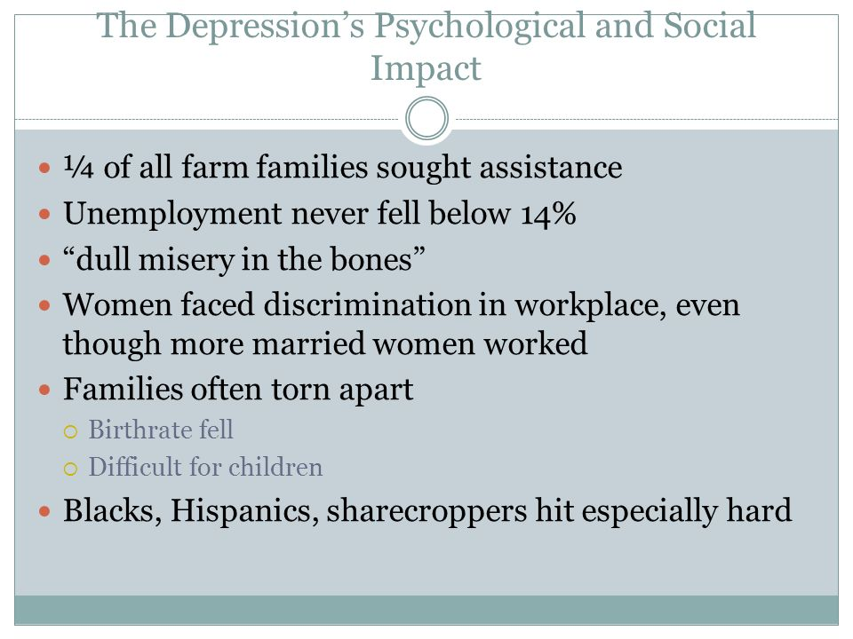 The Depression's Psychological and Social Impact