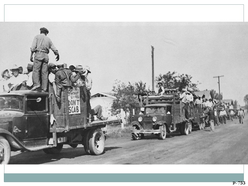 A CARAVAN OF PICKETERS DURING A 1933 STRIKE OF COTTON WORKERS IN CORCORAN, CALIFORNIA Protesting low wages and appalling working conditions, agricultural workers from Mexico went on strike across California's rich San Joaquin Valley in the early 1930s. In some cases, Communist Party members helped organize these strikes.