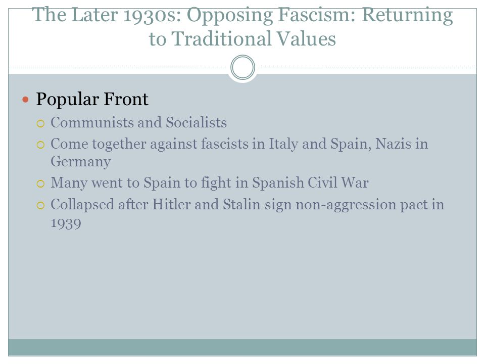 The Later 1930s: Opposing Fascism: Returning to Traditional Values