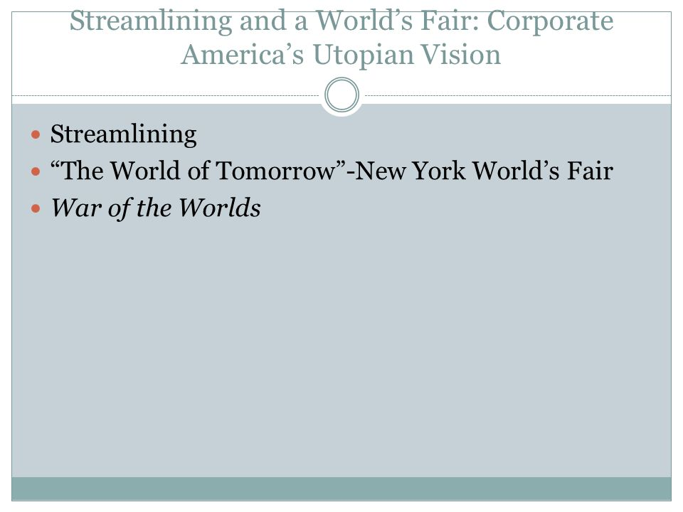 Streamlining and a World's Fair: Corporate America's Utopian Vision