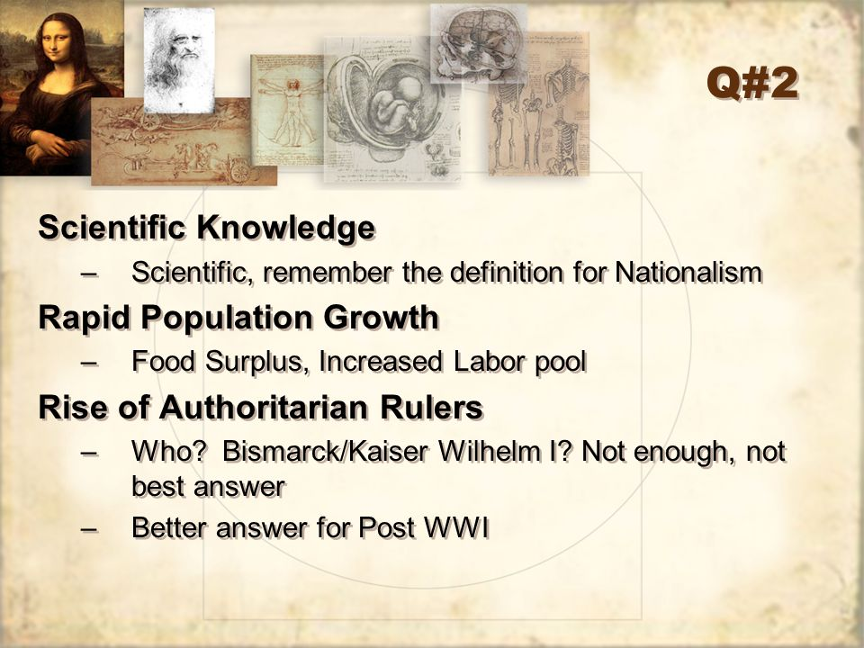 Q#2 Scientific Knowledge Rapid Population Growth