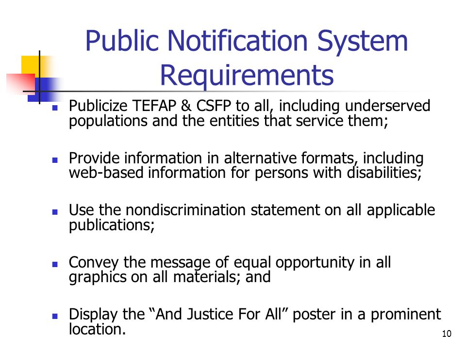 Public Notification System Requirements