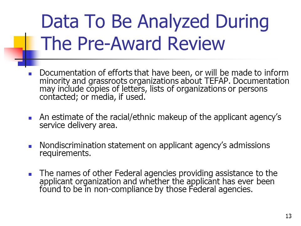 Data To Be Analyzed During The Pre-Award Review