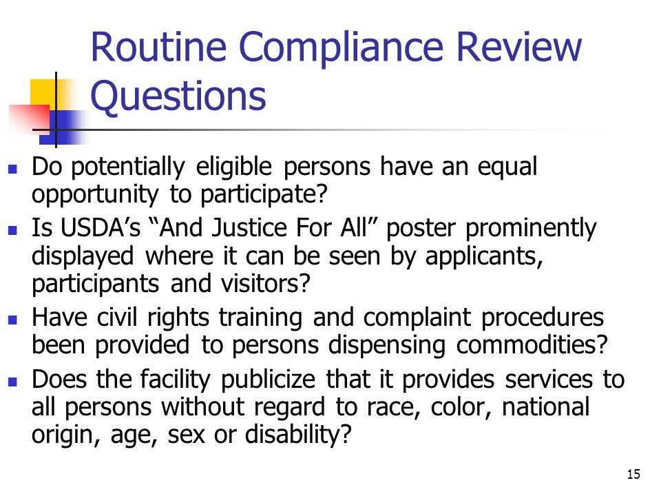 Routine Compliance Review Questions
