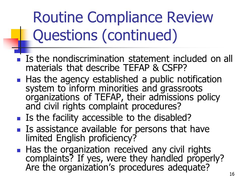 Routine Compliance Review Questions (continued)