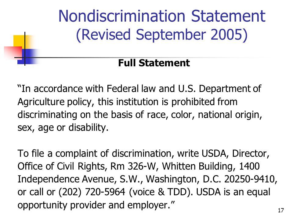 Nondiscrimination Statement (Revised September 2005)