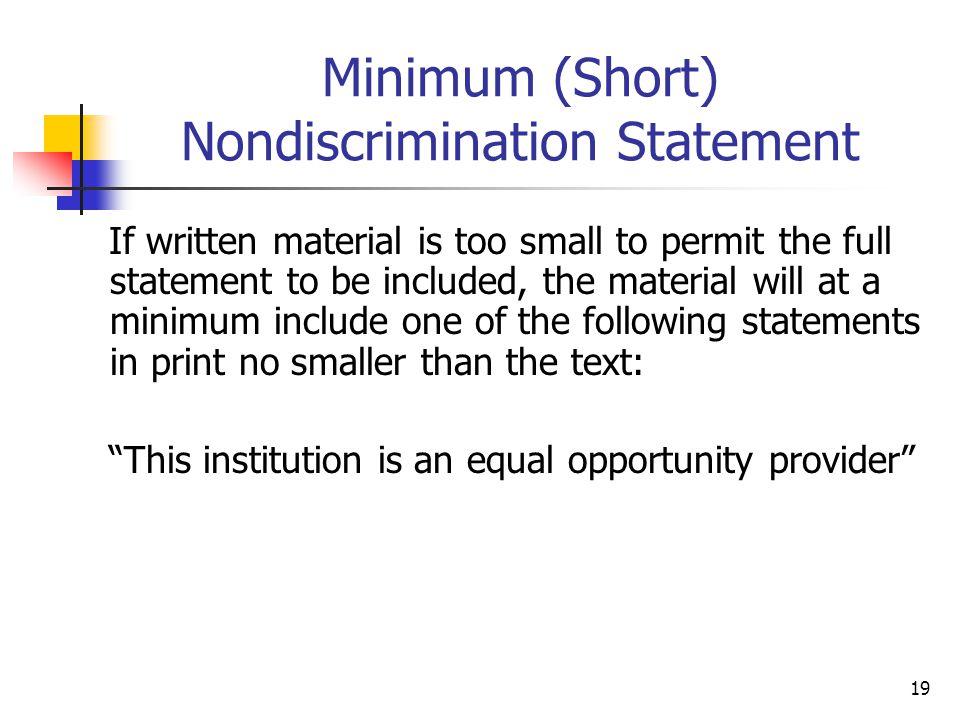 Minimum (Short) Nondiscrimination Statement