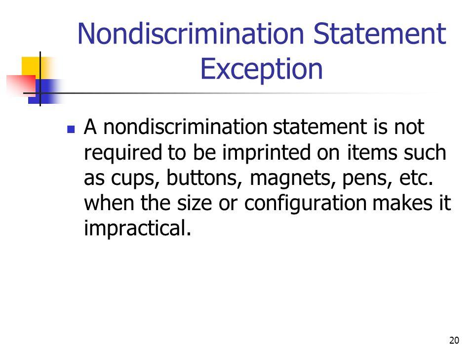 Nondiscrimination Statement Exception