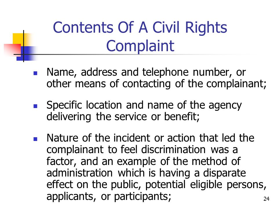 Contents Of A Civil Rights Complaint