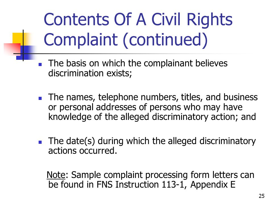 Contents Of A Civil Rights Complaint (continued)