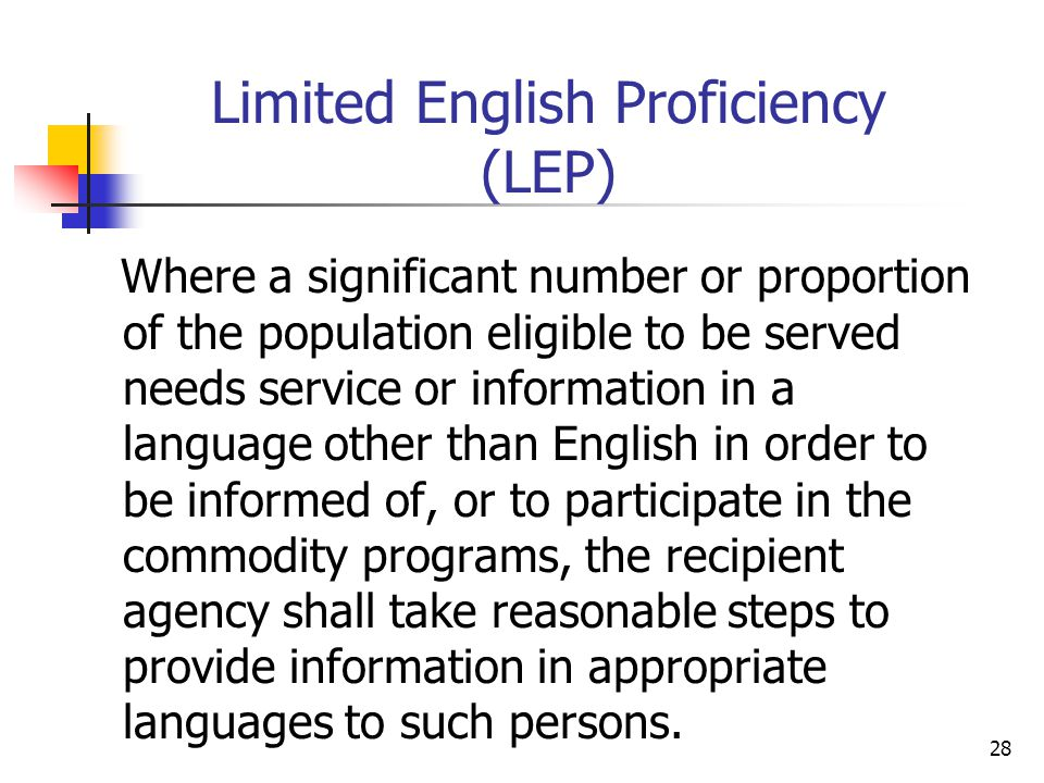 Limited English Proficiency (LEP)