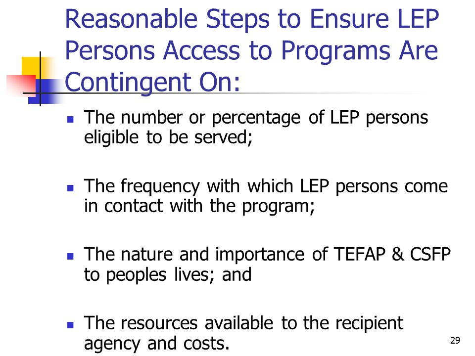 Reasonable Steps to Ensure LEP Persons Access to Programs Are Contingent On: