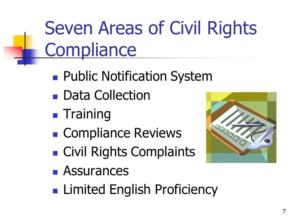 Seven Areas of Civil Rights Compliance