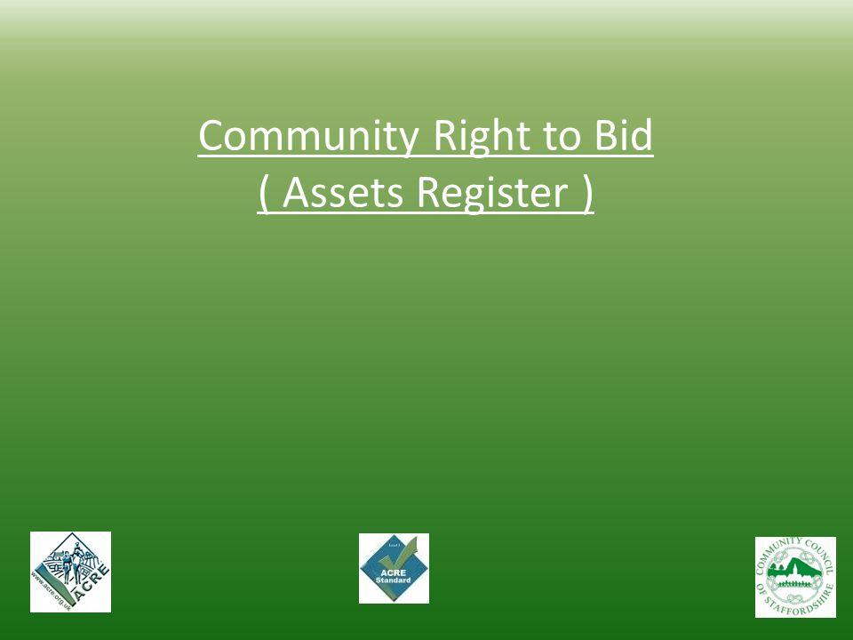 Community Right to Bid ( Assets Register )