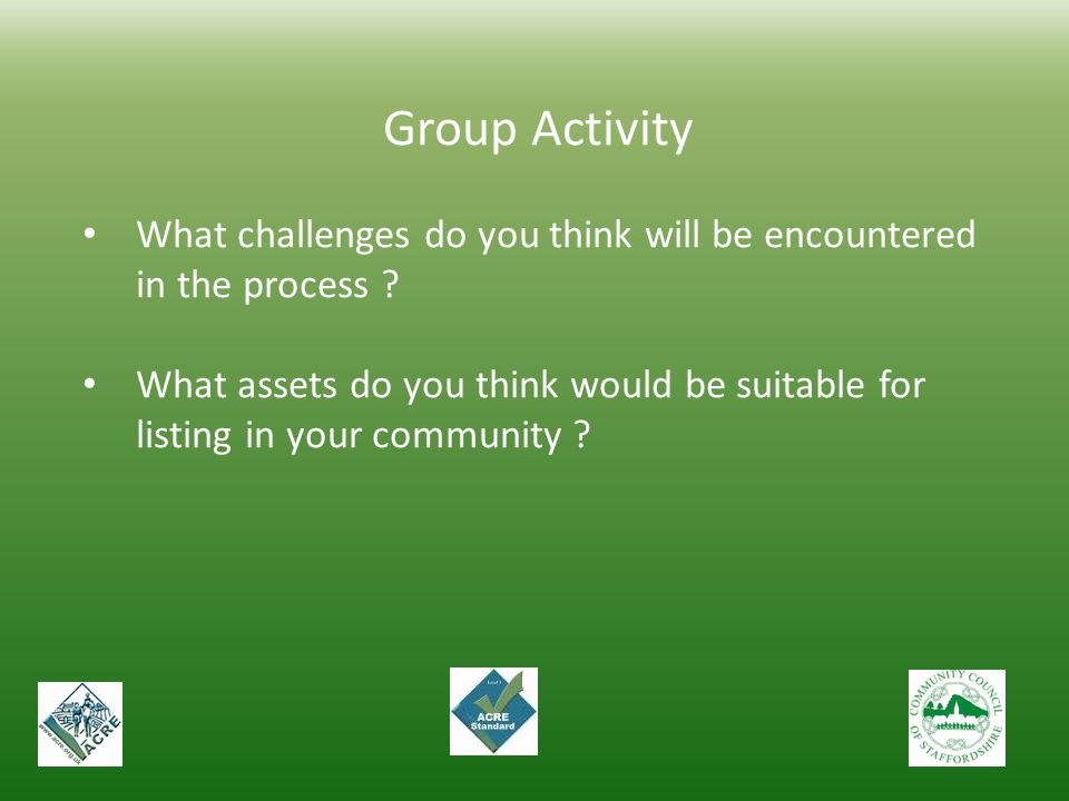 Group Activity. What challenges do you think will be encountered in the process