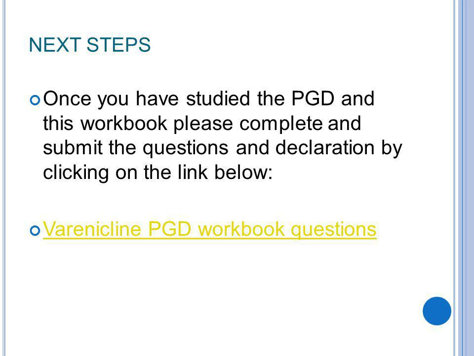 Varenicline PGD workbook questions