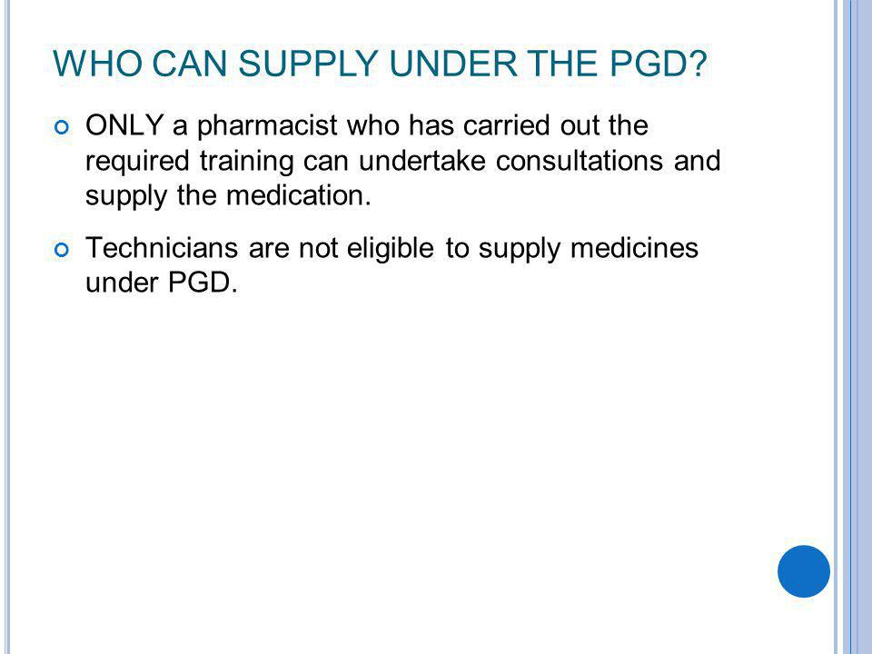Who can supply under the pgd