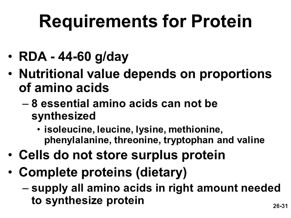 Requirements for Protein