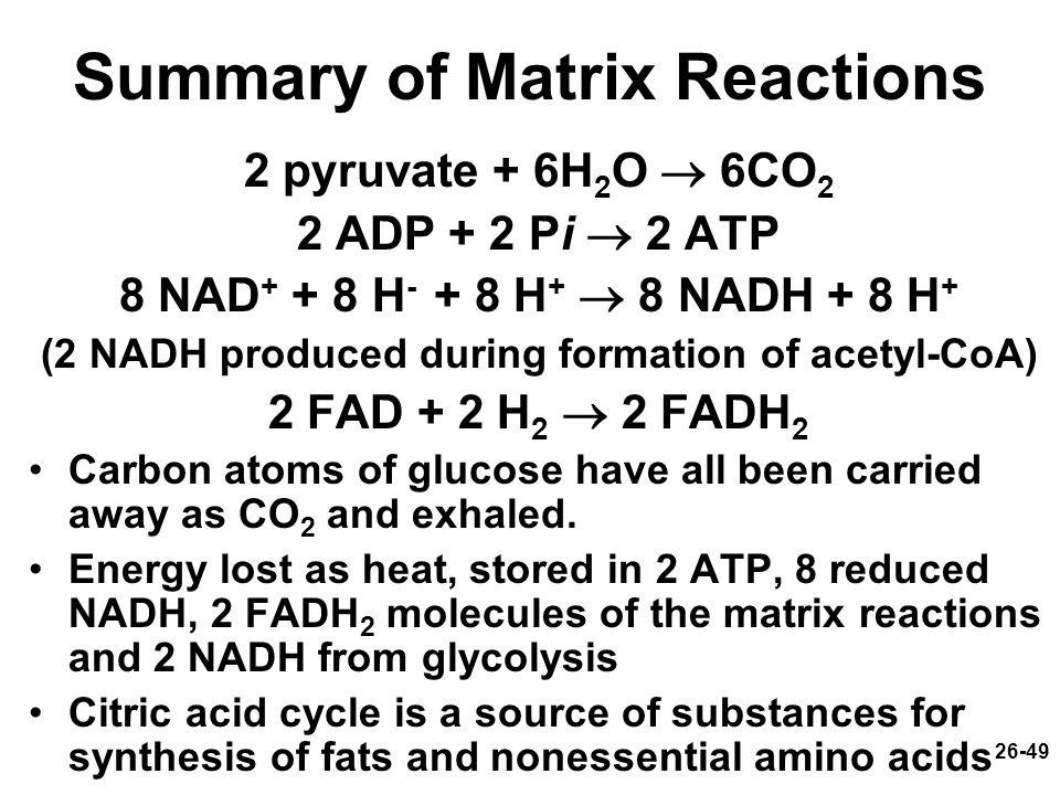 Summary of Matrix Reactions