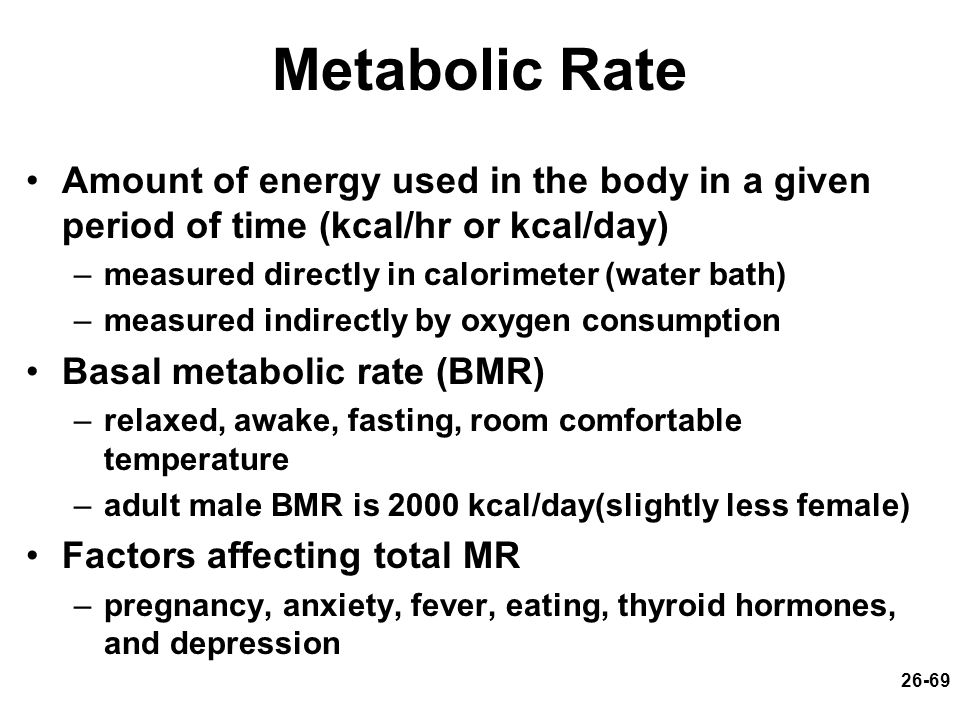 Metabolic Rate Amount of energy used in the body in a given period of time (kcal/hr or kcal/day) measured directly in calorimeter (water bath)