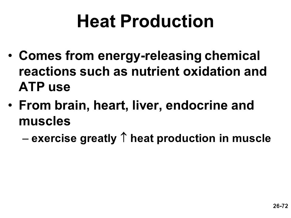Heat Production Comes from energy-releasing chemical reactions such as nutrient oxidation and ATP use.