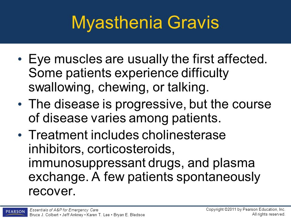 Myasthenia Gravis Eye muscles are usually the first affected. Some patients experience difficulty swallowing, chewing, or talking.