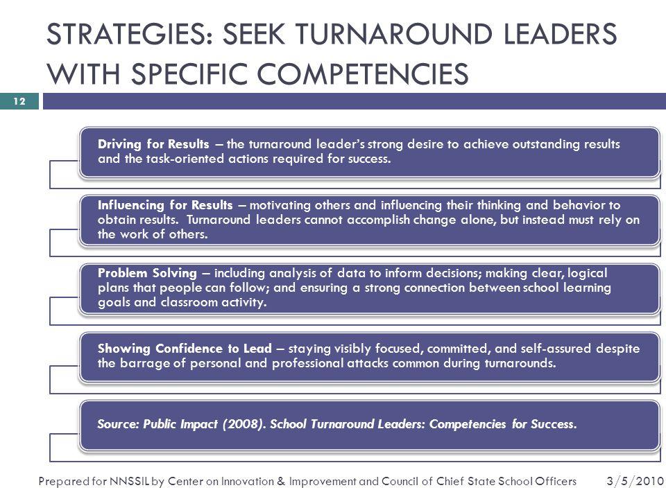 STRATEGIES: SEEK TURNAROUND LEADERS WITH SPECIFIC COMPETENCIES
