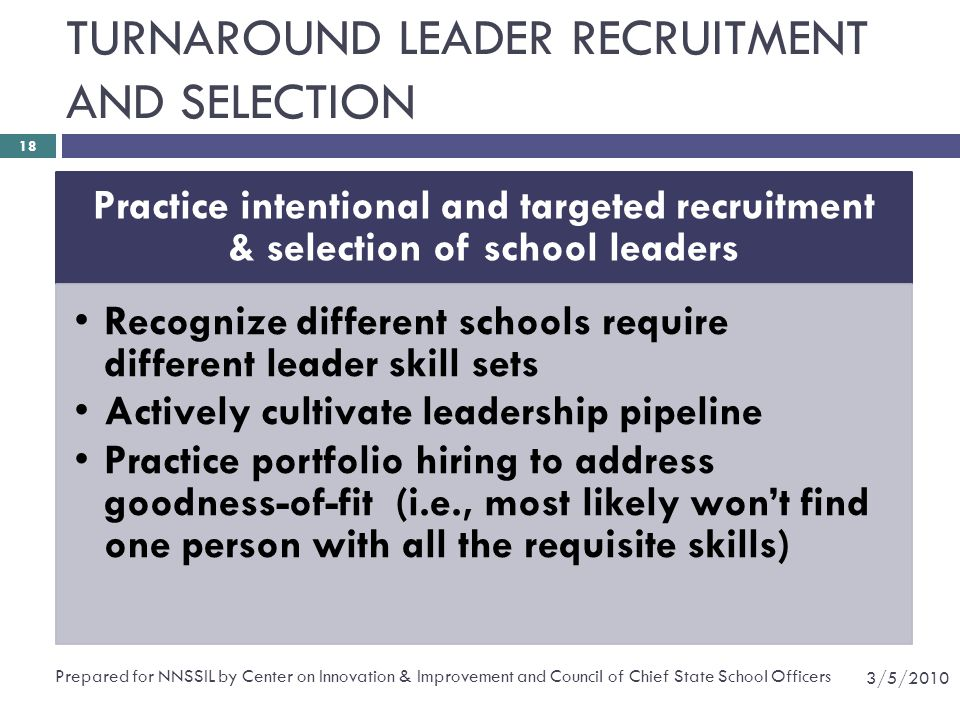 TURNAROUND LEADER RECRUITMENT AND SELECTION