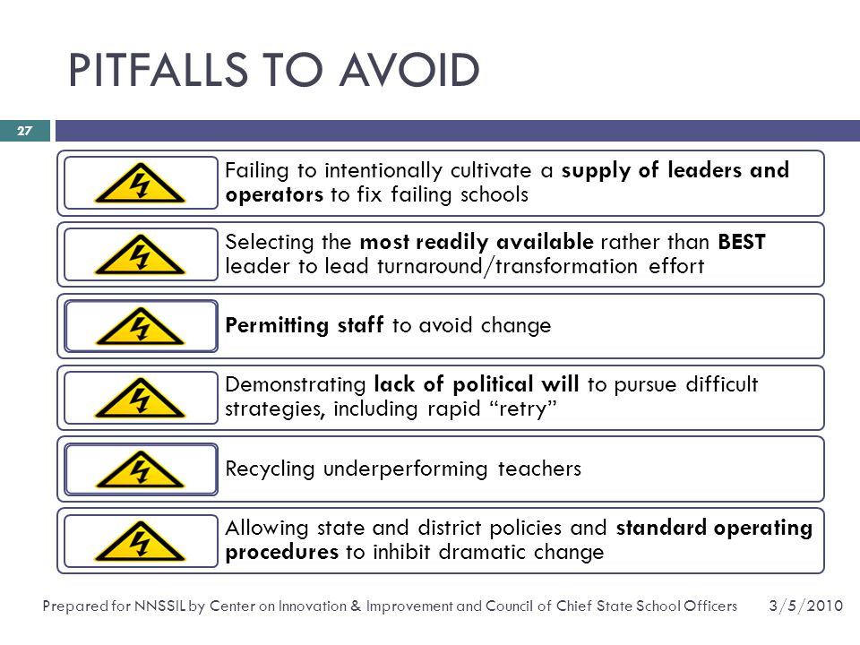 PITFALLS TO AVOID Failing to intentionally cultivate a supply of leaders and operators to fix failing schools.