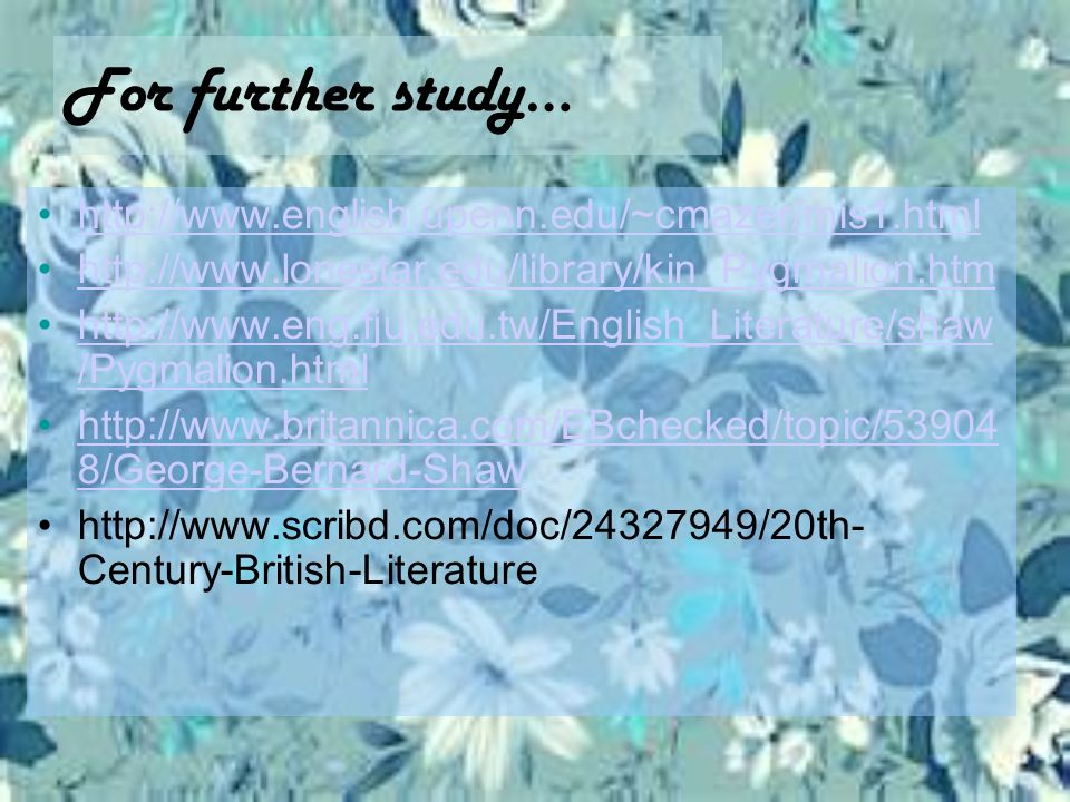 For further study… http://www.english.upenn.edu/~cmazer/mis1.html