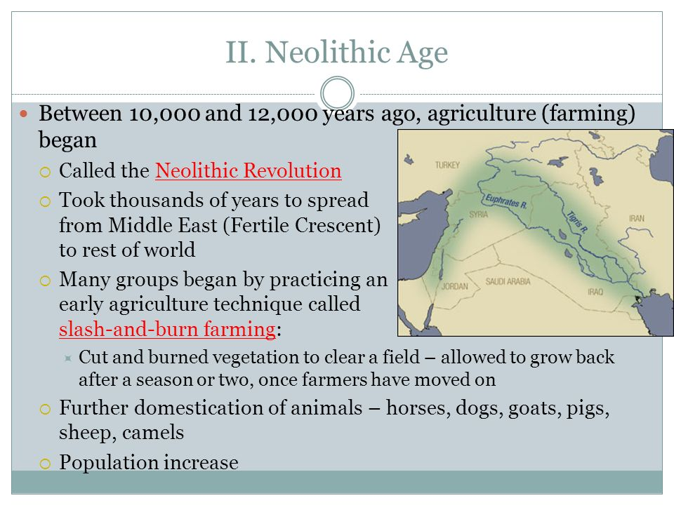II. Neolithic AgeBetween 10,000 and 12,000 years ago, agriculture (farming) began. Called the Neolithic Revolution.