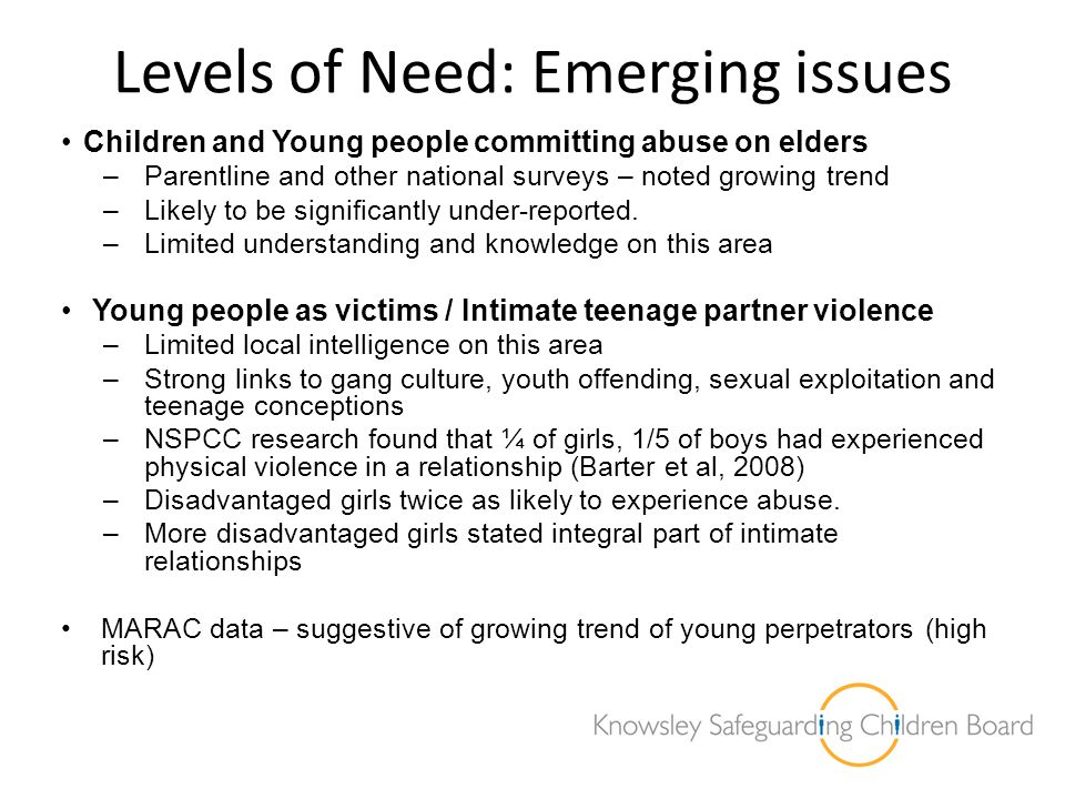 Levels of Need: Emerging issues