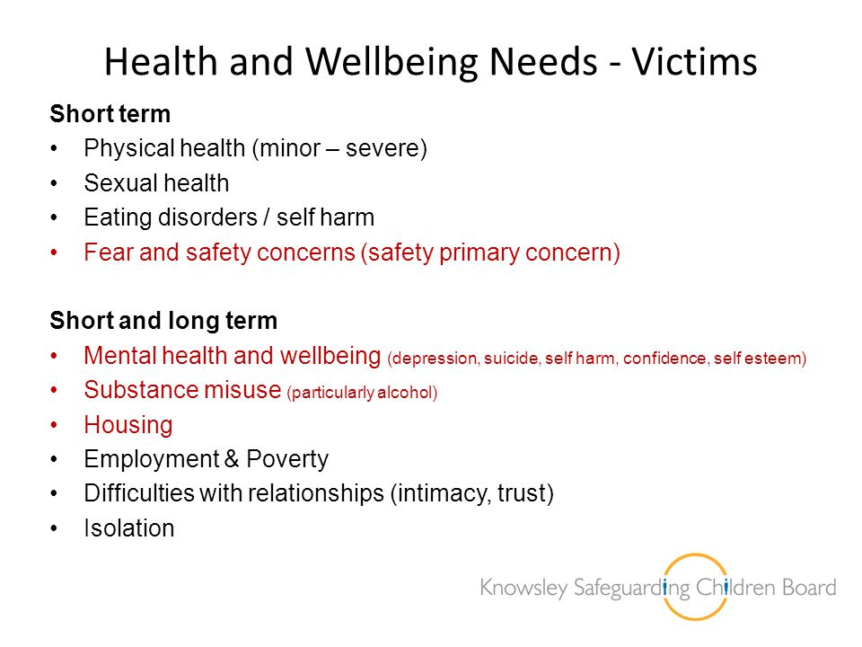 Health and Wellbeing Needs - Victims