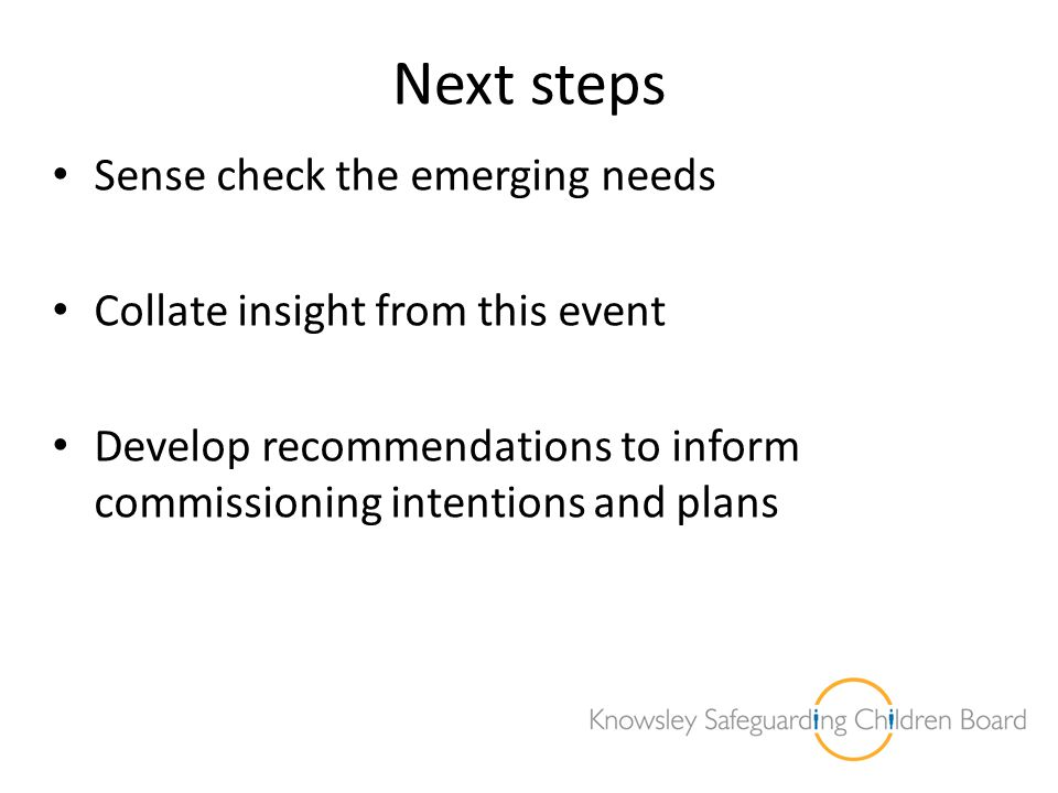 Next steps Sense check the emerging needs