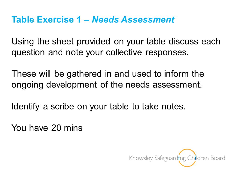 Table Exercise 1 – Needs Assessment
