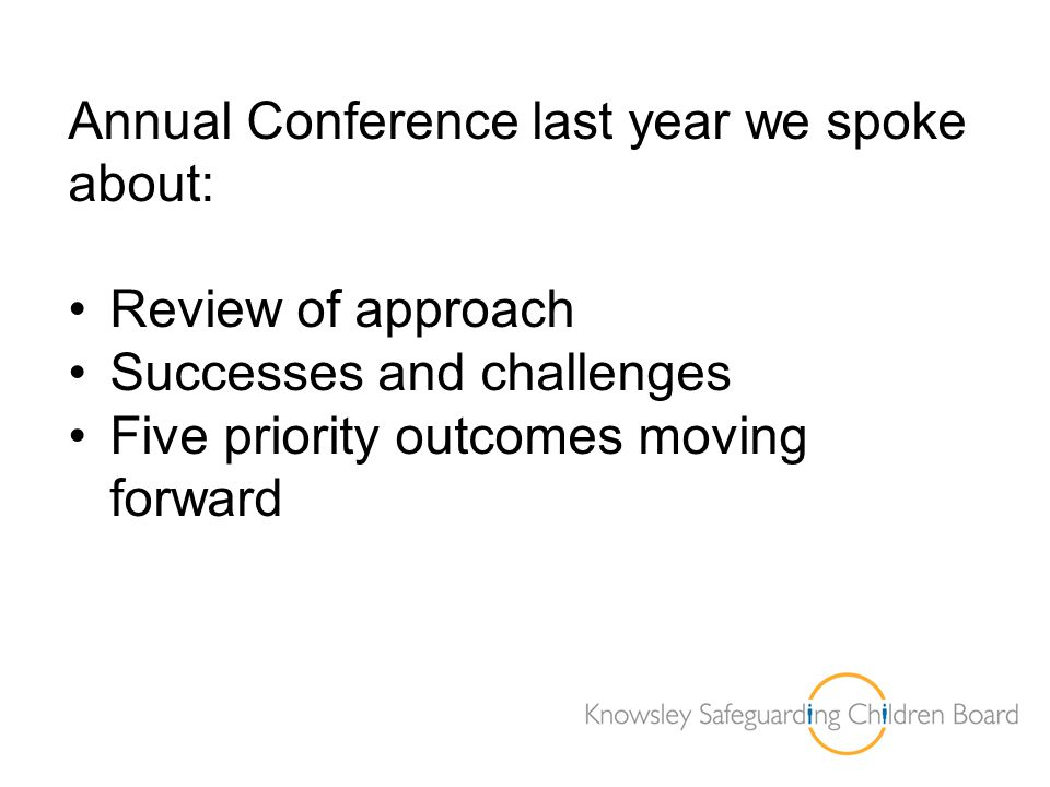 Annual Conference last year we spoke about: