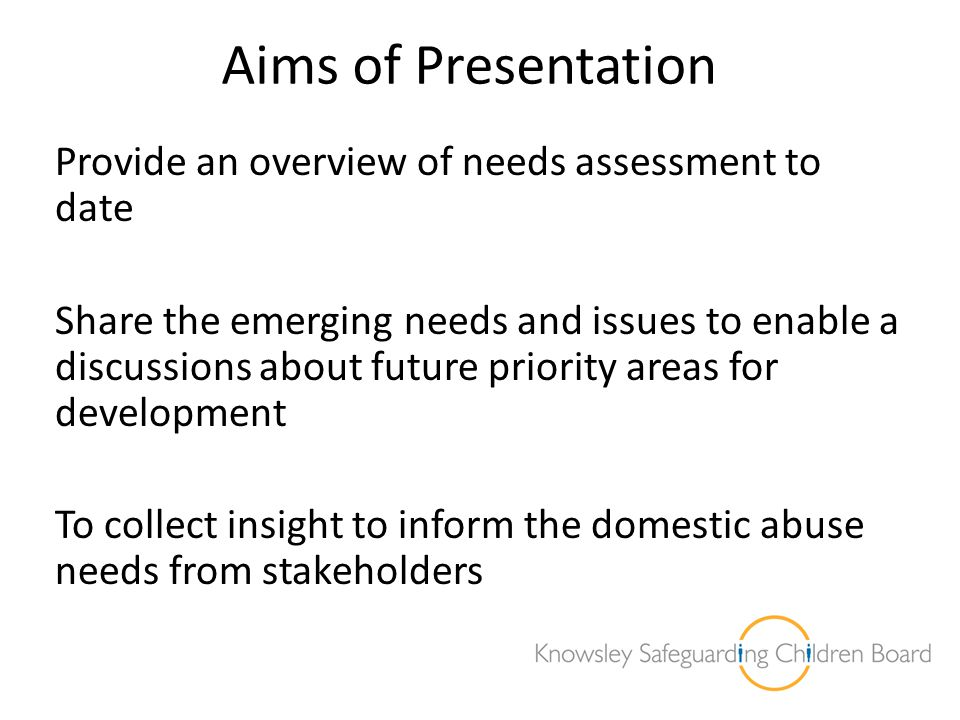 Aims of Presentation Provide an overview of needs assessment to date