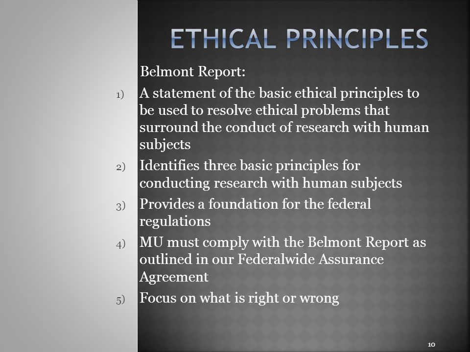 Ethical principles Belmont Report: