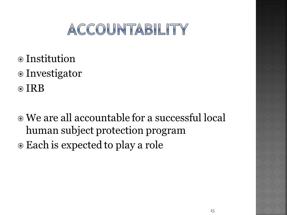 accountability Institution Investigator IRB
