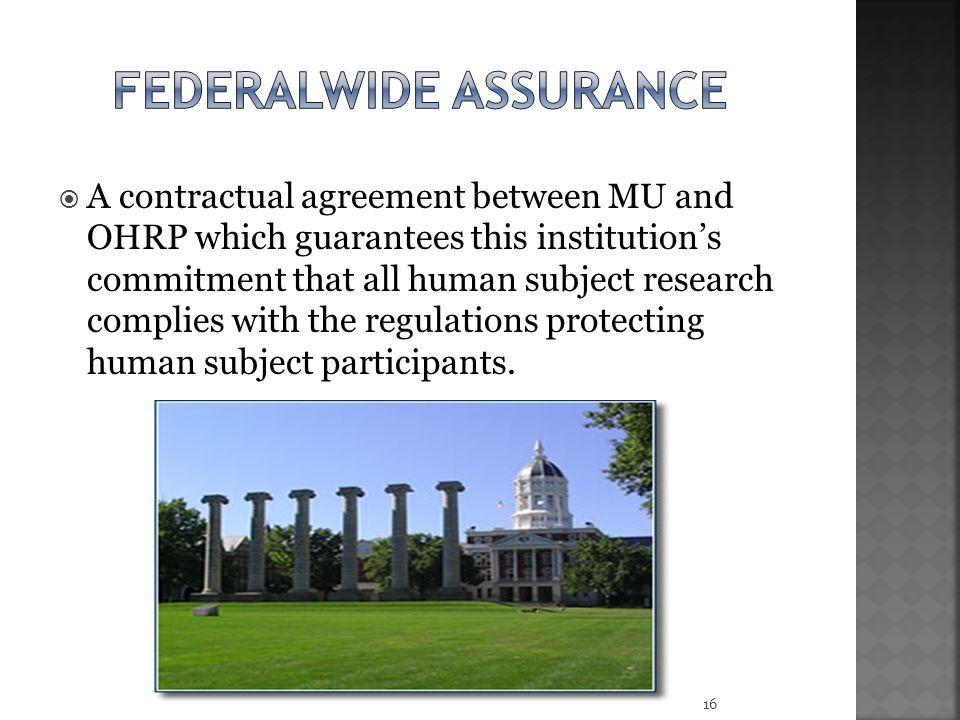 Federalwide assurance